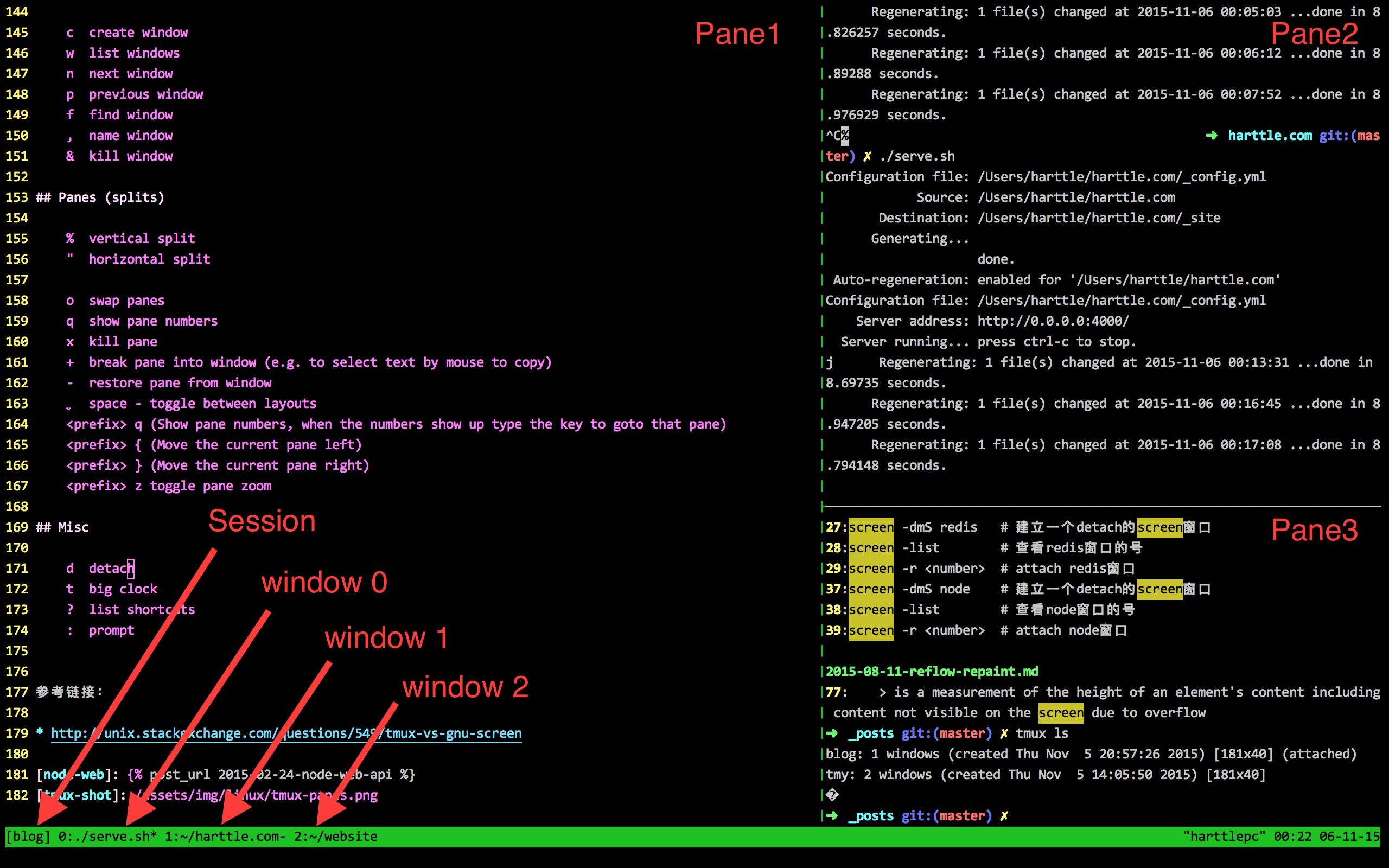 tmux screen shot